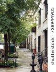 sidewalk in the upper west side ... | Shutterstock . vector #738944905