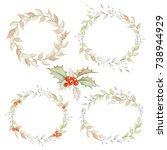 holiday wreaths and bouquet set | Shutterstock . vector #738944929