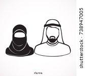 muslim man and woman... | Shutterstock .eps vector #738947005