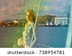 girl rests on a yacht | Shutterstock . vector #738954781