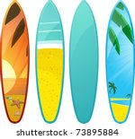 set of surfboards with tropical ... | Shutterstock .eps vector #73895884