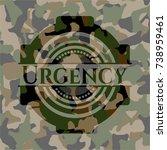 urgency written on a camouflage ... | Shutterstock .eps vector #738959461