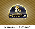 gold badge or emblem with... | Shutterstock .eps vector #738964801