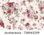 rose bouquet flower pattern | Shutterstock . vector #738965299