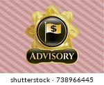 gold badge or emblem with flag ... | Shutterstock .eps vector #738966445
