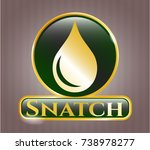 golden badge with drop icon... | Shutterstock .eps vector #738978277