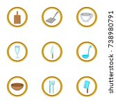 tableware icons set. cartoon... | Shutterstock . vector #738980791