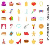 celebrate icons set. cartoon... | Shutterstock . vector #738982825
