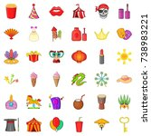 circus icons set. cartoon style ... | Shutterstock . vector #738983221