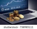 laptop with bitcoin chart on... | Shutterstock . vector #738985111
