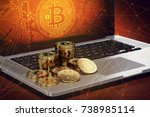 bitcoin piles laying on... | Shutterstock . vector #738985114