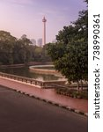 Small photo of Monas (The National Monument) seen from Istiqlal Mosque in the morning.