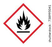 hazard flammable sign on white... | Shutterstock .eps vector #738995041