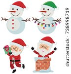 two snowmen and santa claus on... | Shutterstock .eps vector #738998719