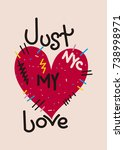 new york just my love t shirt... | Shutterstock .eps vector #738998971