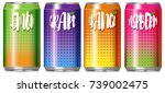 four cans of different kind of... | Shutterstock .eps vector #739002475