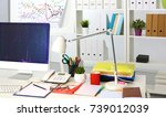 office table with blank notepad ... | Shutterstock . vector #739012039