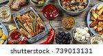 american snacks. the potatoes... | Shutterstock . vector #739013131