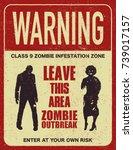 poster zombie outbreak. sign... | Shutterstock .eps vector #739017157