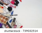 makeup set on white table with... | Shutterstock . vector #739032514