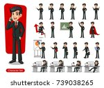 set of businessman cartoon... | Shutterstock .eps vector #739038265
