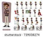 set of hipster businessman... | Shutterstock .eps vector #739038274
