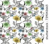 hand drawn seamless pattern... | Shutterstock . vector #739043665