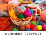 balls of yarn for knitting.... | Shutterstock . vector #739044175