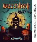 halloween party invitation with ... | Shutterstock .eps vector #739048765