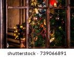 classic green new year tree... | Shutterstock . vector #739066891