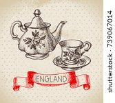 hand drawn sketch england... | Shutterstock .eps vector #739067014