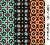 set of 3 seamless patterns... | Shutterstock .eps vector #739072891