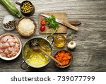ingredients with chicken and... | Shutterstock . vector #739077799