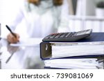calculator and binders with...   Shutterstock . vector #739081069