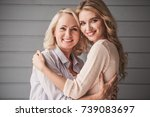 beautiful senior mom and her... | Shutterstock . vector #739083697