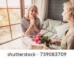 beautiful senior woman is... | Shutterstock . vector #739083709