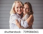 beautiful granny and  teenage... | Shutterstock . vector #739086061