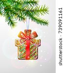 christmas tree branch with... | Shutterstock .eps vector #739091161