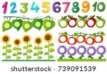 number one to ten with leaves...   Shutterstock .eps vector #739091539