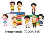 happy children standing on... | Shutterstock .eps vector #739091545