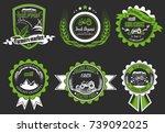 retro set of farm fresh logos. ... | Shutterstock . vector #739092025
