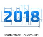 new year 2018 number with...   Shutterstock . vector #739093684