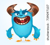 Stock vector cute furry blue monster vector bigfoot or troll character mascot design for children book 739097107