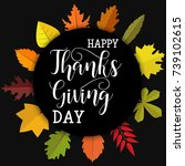 happy thanksgiving day. card... | Shutterstock .eps vector #739102615