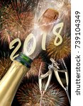 popping champagne and fireworks ... | Shutterstock . vector #739104349