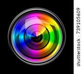 camera lens on black background   Shutterstock .eps vector #739105609