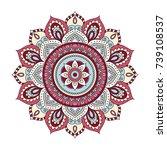 flower mandalas. vintage... | Shutterstock .eps vector #739108537
