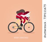 modern santa claus riding his... | Shutterstock .eps vector #739111675