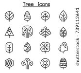 tree icon set in thin line style | Shutterstock .eps vector #739112641