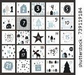 advent calendar in scandinavian ...   Shutterstock .eps vector #739119184